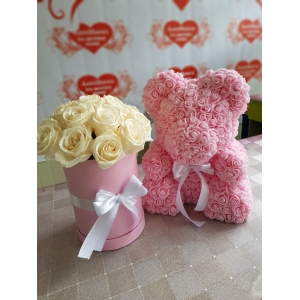 Купить мишку из роз фоамиран в Хабаровске