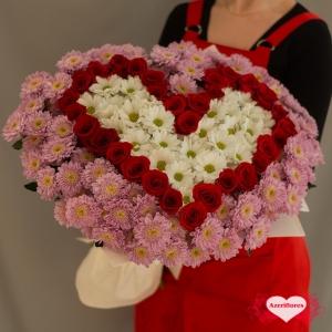 Купить букет в виде сердца с доставкой в Хабаровске