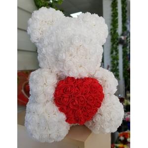 Купить мишку из роз фоамиран с сердечком в Хабаровске