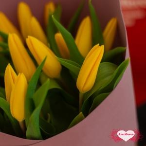 Купить букет из 15 желтых тюльпанов в Хабаровске