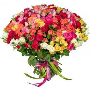 Купить микс-букет из 35 кустовых роз в Хабаровске
