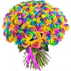Купить охапку из 101 радужной розы в Хабаровске