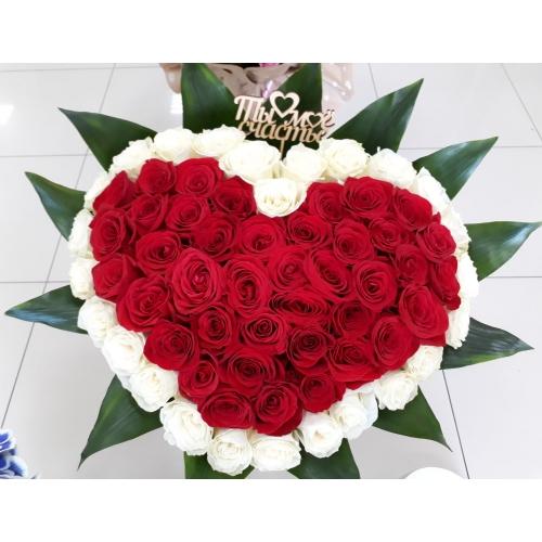 Купить букет из роз в форме сердца в Хабаровске