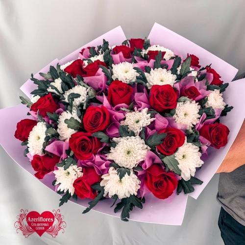 Купить букет из роз и хризантем в Хабаровске
