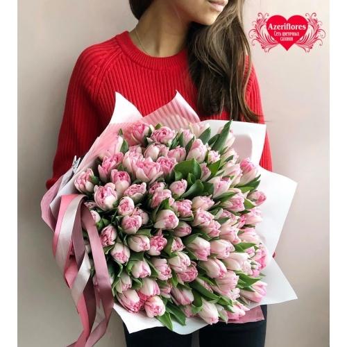 Купить букет из 101 фиолетового тюльпана в Хабаровске