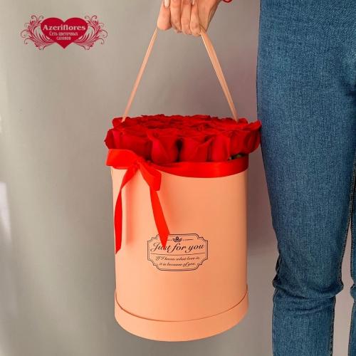 Купить коробку с 25 красными розами в Хабаровске