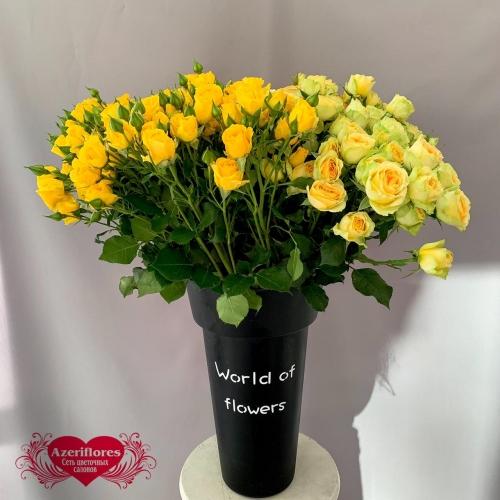 Купить желтую кустовую розу в Хабаровске