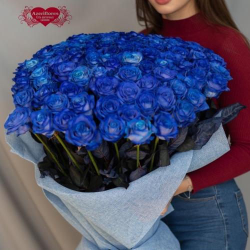 Купить охапку из синих роз в Хабаровске