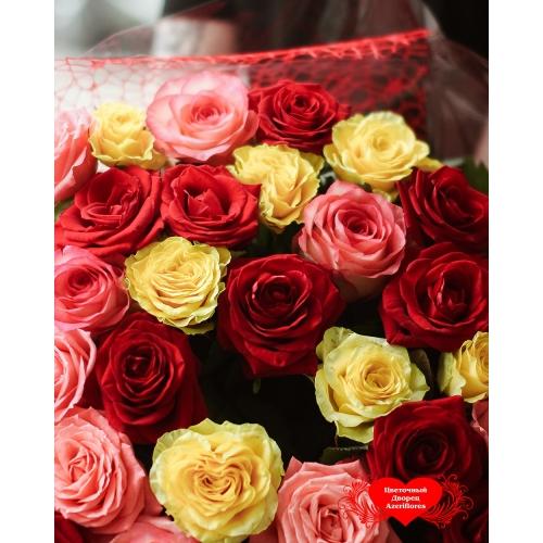Купить охапку роза-микс (красный, оранжевый, жёлтый) в Хабаровске