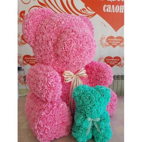 Купить мишку из розовых фоамиран в Хабаровске
